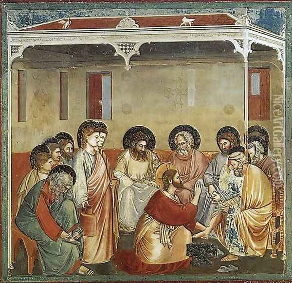 No. 30 Scenes from the Life of Christ- 14. Washing of Feet 1304-06 Oil Painting - Giotto Di Bondone