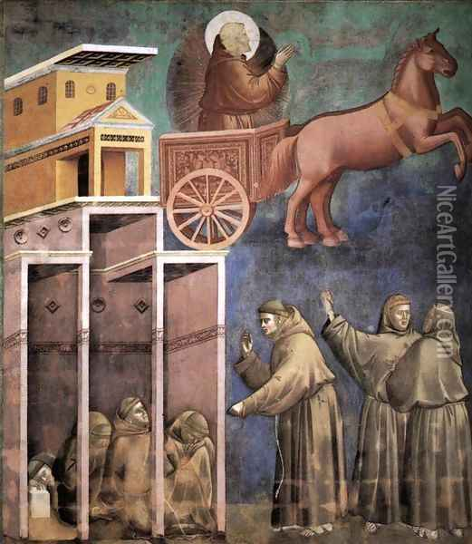 Legend of St Francis- 8. Vision of the Flaming Chariot 1297-99 Oil Painting - Giotto Di Bondone