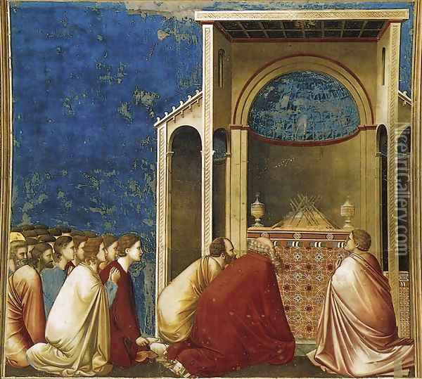 No. 10 Scenes from the Life of the Virgin- 4.The Suitors Praying 1304-06 Oil Painting - Giotto Di Bondone