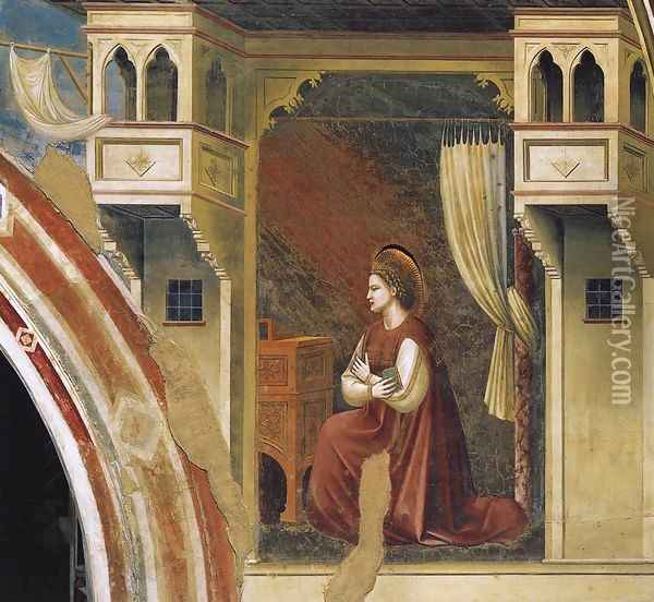 No. 15 Annunciation- The Virgin Receiving the Message 1306 Oil Painting - Giotto Di Bondone