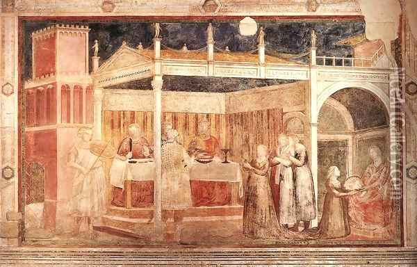 Scenes from the Life of St John the Baptist- 3. Feast of Herod 1320 Oil Painting - Giotto Di Bondone