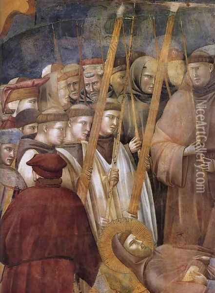 Legend of St Francis- 22. Verification of the Stigmata (detail 1) 1300 Oil Painting - Giotto Di Bondone
