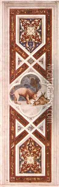 The Lion Recalls the Cubs to Life (on the decorative band) 1304-06 Oil Painting - Giotto Di Bondone