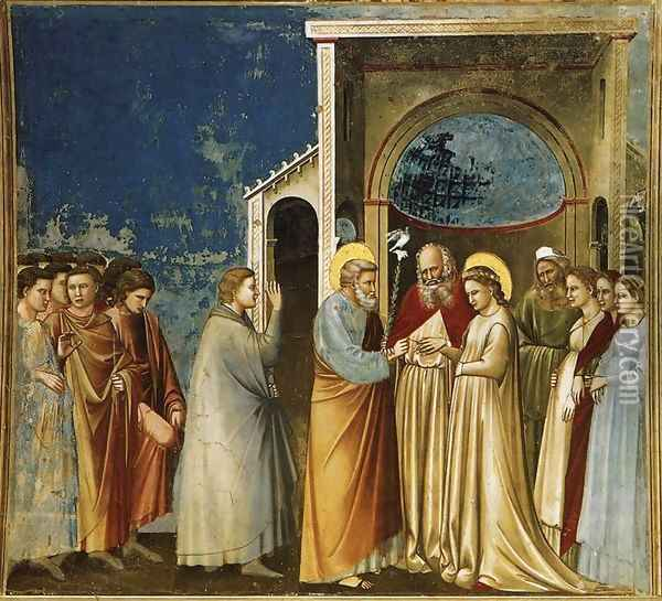 No. 11 Scenes from the Life of the Virgin- 5. Marriage of the Virgin 1304-06 Oil Painting - Giotto Di Bondone