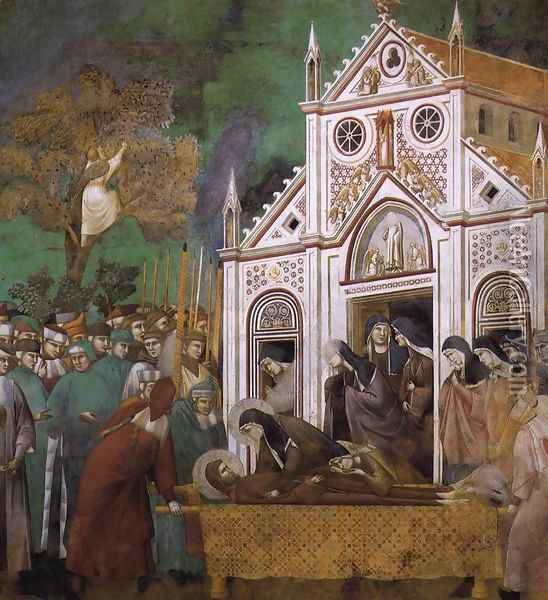 Legend of St Francis- 23. St. Francis Mourned by St. Clare 1300 Oil Painting - Giotto Di Bondone