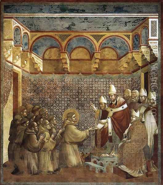 Legend of St Francis- 7. Confirmation of the Rule 1297-99 Oil Painting - Giotto Di Bondone