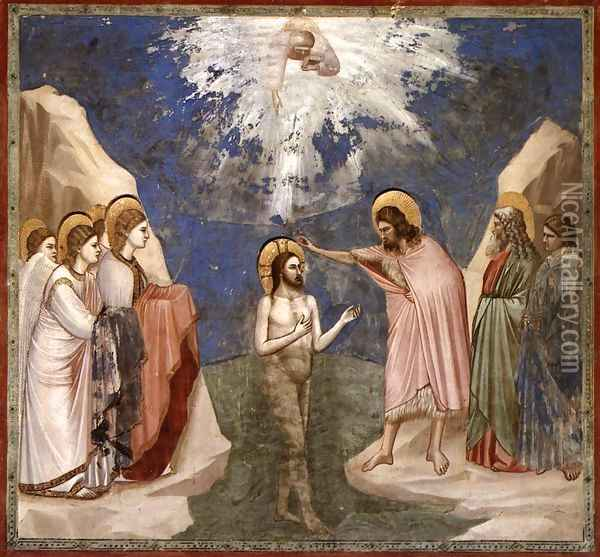 No. 23 Scenes from the Life of Christ- 7. Baptism of Christ 1304-06 Oil Painting - Giotto Di Bondone