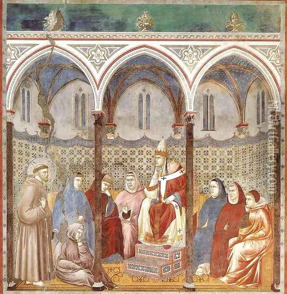 Legend of St Francis- 17. St Francis Preaching before Honorius III 1297-1300 Oil Painting - Giotto Di Bondone