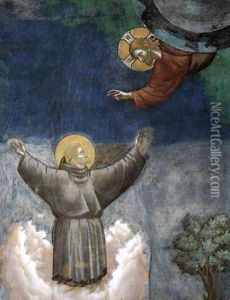 Legend of St Francis- 12. Ecstasy of St Francis (detail) 1297-1300 Oil Painting - Giotto Di Bondone