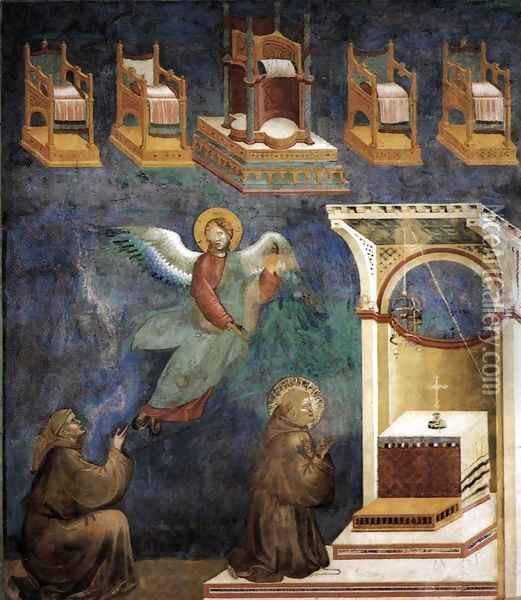 Legend of St Francis- 9. Vision of the Thrones 1297-99 Oil Painting - Giotto Di Bondone