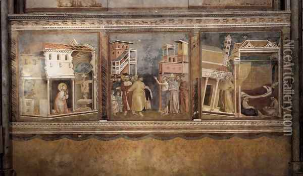 Legend of St Francis- Scenes Nos. 4-6 1297-99 Oil Painting - Giotto Di Bondone