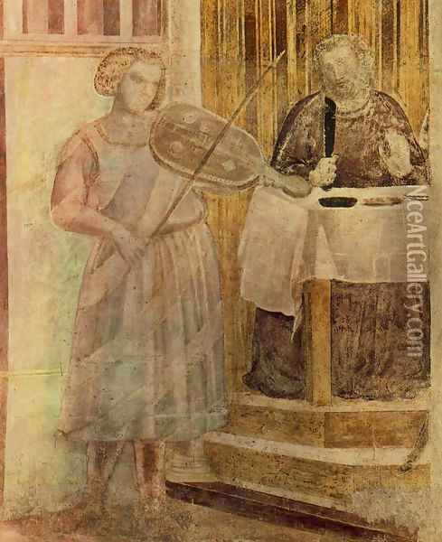 Scenes from the Life of St John the Baptist- 3. Feast of Herod (detail 1) 1320 Oil Painting - Giotto Di Bondone