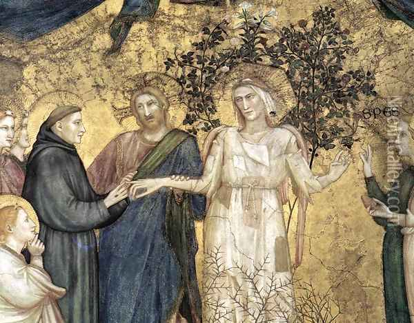Franciscan Allegories- Allegory of Poverty (detail 1) c. 1330 Oil Painting - Giotto Di Bondone