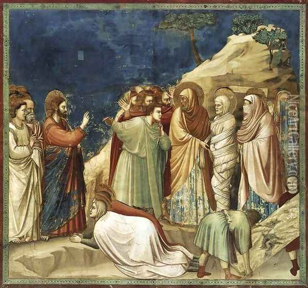 No. 25 Scenes from the Life of Christ- 9. Raising of Lazarus 1304-06 Oil Painting - Giotto Di Bondone