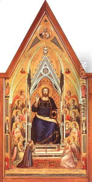 The Stefaneschi Triptych- Christ Enthroned c. 1330 Oil Painting - Giotto Di Bondone
