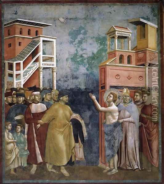 Legend of St Francis- 5. Renunciation of Wordly Goods 1297-99 Oil Painting - Giotto Di Bondone