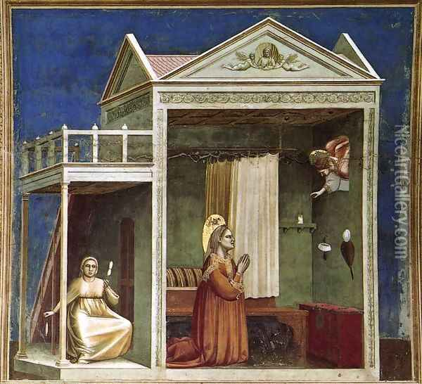 No. 3 Scenes from the Life of Joachim- 3. Annunciation to St Anne 1304-06 Oil Painting - Giotto Di Bondone