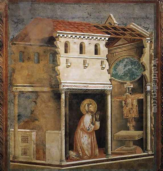 Legend of St Francis- 4. Miracle of the Crucifix 1297-99 Oil Painting - Giotto Di Bondone