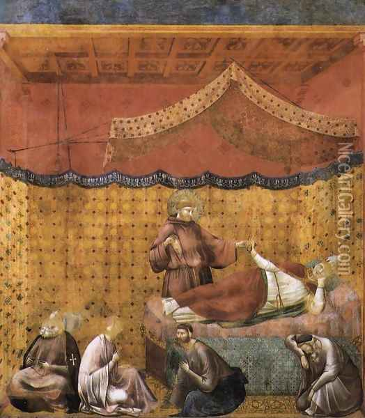 Legend of St Francis- 25. Dream of St Gregory 1300 Oil Painting - Giotto Di Bondone