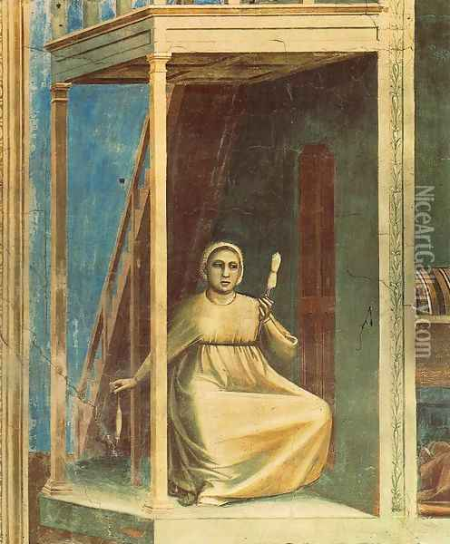 No. 3 Scenes from the Life of Joachim- 3. Annunciation to St Anne (detail) 1304 Oil Painting - Giotto Di Bondone