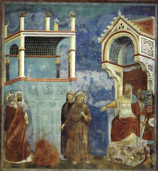 Legend of St Francis- 11. St Francis before the Sultan (Trial by Fire) 1297-1300 Oil Painting - Giotto Di Bondone