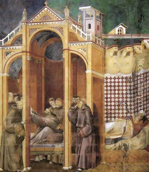 Legend of St Francis- 21. Apparition to Fra Agostino and to Bishop Guido of Arezzo 1300 Oil Painting - Giotto Di Bondone