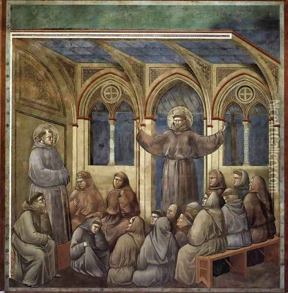 Legend of St Francis- 18. Apparition at Arles 1297-1300 2 Oil Painting - Giotto Di Bondone