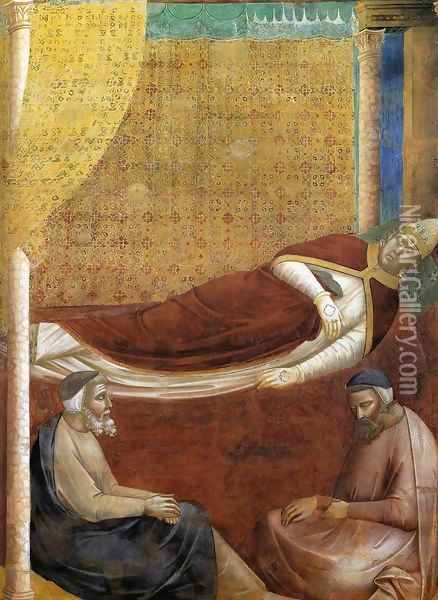 Legend of St Francis- 6. Dream of Innocent III (detail 2) 1297-99 Oil Painting - Giotto Di Bondone