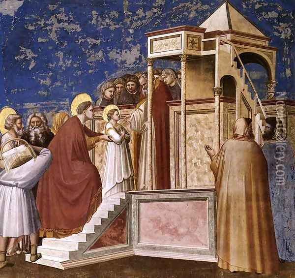 No. 8 Scenes from the Life of the Virgin- 2. Presentation of the Virgin in the Temple 1304 Oil Painting - Giotto Di Bondone