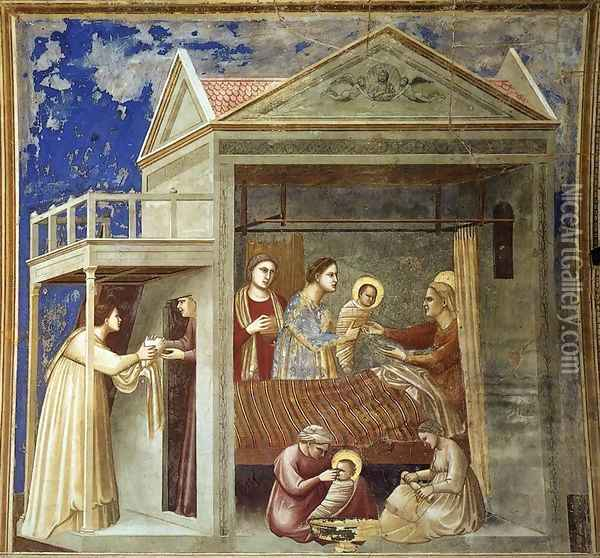 No. 7 Scenes from the Life of the Virgin- 1. The Birth of the Virgin 1304-06 Oil Painting - Giotto Di Bondone