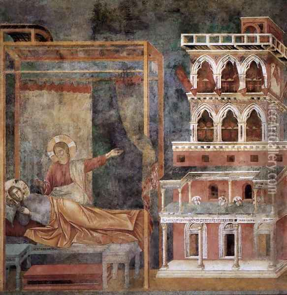 Legend of St Francis- 3. Dream of the Palace (detail) 1297-99 Oil Painting - Giotto Di Bondone