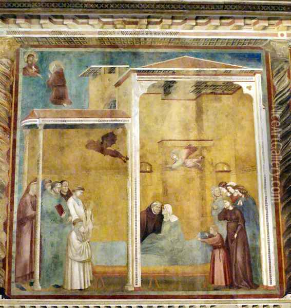 Confession of the woman come back to life,Basilica of Saint Francis,Assisi Oil Painting - Giotto Di Bondone