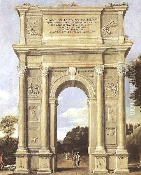 A Triumphal Arch of Allegories Oil Painting - Giotto Di Bondone