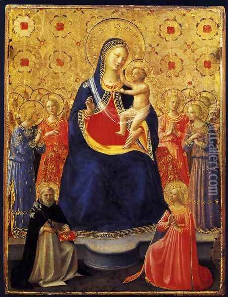 Virgin and Child with Sts Dominic and Catherine of Alexandria Oil Painting - Giotto Di Bondone