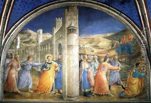 The Stoning of St Stephen Oil Painting - Giotto Di Bondone