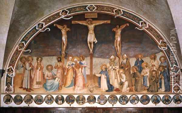 Crucifixion and Saints Oil Painting - Giotto Di Bondone