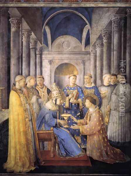 St Peter Consacrates St Lawrence as Deacon Oil Painting - Giotto Di Bondone