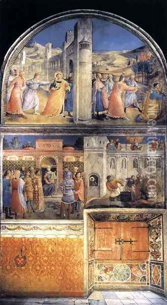 East wall of the chapel Oil Painting - Giotto Di Bondone
