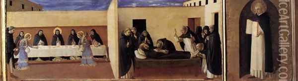 Virgin with Child and Four Saints (detail of the predella 2) Oil Painting - Giotto Di Bondone