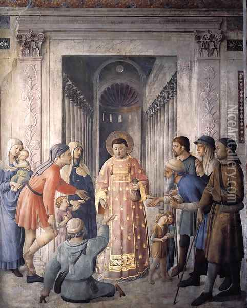 St Lawrence Distributing Alms Oil Painting - Giotto Di Bondone