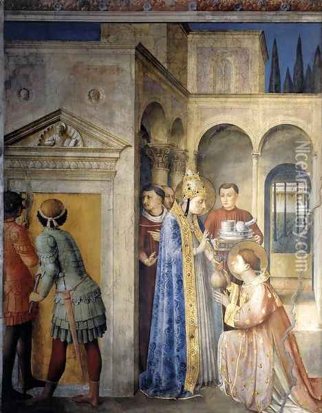 St Sixtus Entrusts the Church Treasures to Lawrence Oil Painting - Giotto Di Bondone