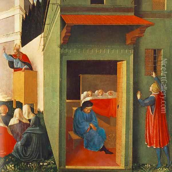 The Story of St Nicholas, Giving Dowry to Three Poor Girls Oil Painting - Giotto Di Bondone