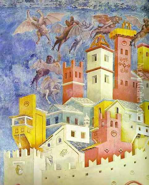 The Expulsion Of The Demons From Arezzo Detail 1295-1300 Oil Painting - Giotto Di Bondone