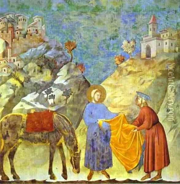 St Francis Giving His Cloak To A Poor Man 1295-1300 Oil Painting - Giotto Di Bondone