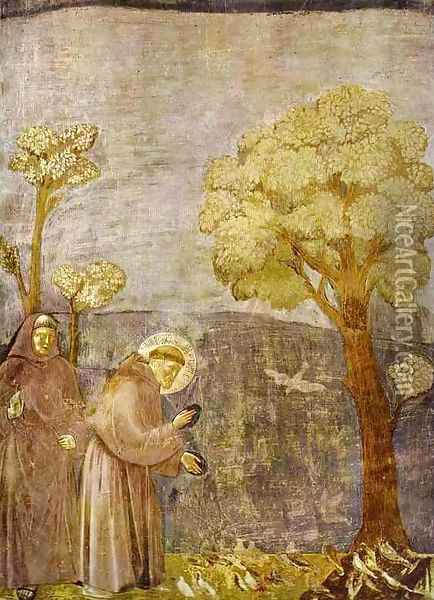 Preaching To The Birds 1295-1300 Oil Painting - Giotto Di Bondone