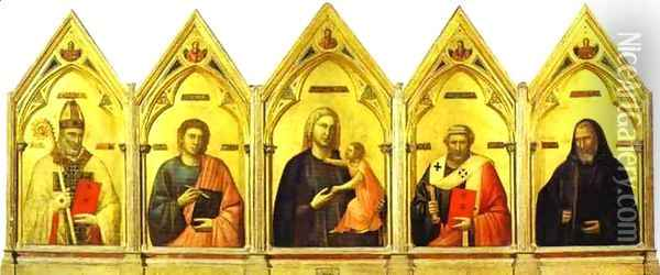 Madonna And Child With St Nicholas St John The Evangelist St Peter And St Benedict 1300 Oil Painting - Giotto Di Bondone