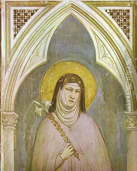 St Claire Detail 1320s Oil Painting - Giotto Di Bondone