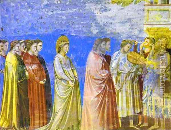 The Marriage Procession Of The Virgin Detail 1304-1306 Oil Painting - Giotto Di Bondone