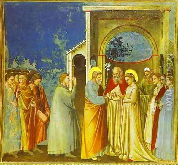 Marriage Of The Virgin 1302-1305 Oil Painting - Giotto Di Bondone