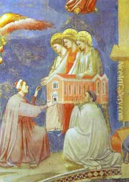 The Last Judgement Detail (Enrico Scrovegni Presents The Model Of The Church To The Virgin Mary) 1304-1306 Oil Painting - Giotto Di Bondone